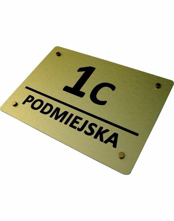 Tablica adresowa - grawerowana - kolor: złoty szczotkowany