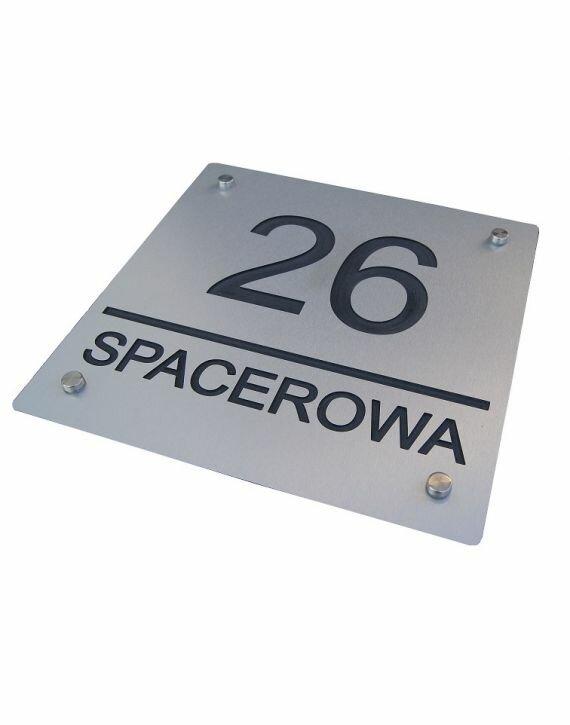 Tablica adresowa - grawerowana - kolor: srebrny szczotkowany